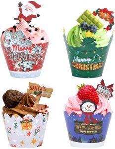 48tlg Cupcake topper und Wrapper Set Weihnachten