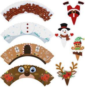 Cupcake topper und Wrapper Set Christmas