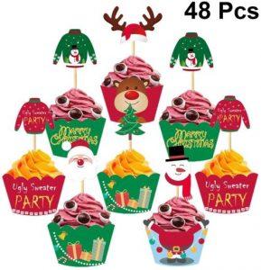 Cupcake topper und Wrapper Set Weihnachten