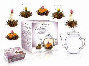 Geschenkset - Teekanne mit Teeblumen