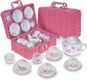 Kinder-Teeservice im Picknickkoffer