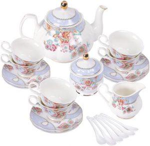 Tee-Service Lila Blumen