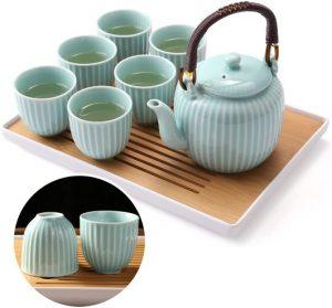 Tee-Service blau mit Tablett