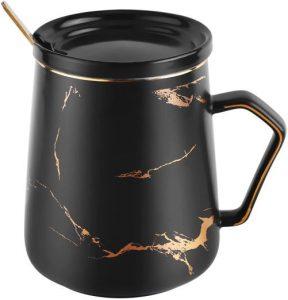Tee-Tasse Schwarz gold mit Löffel