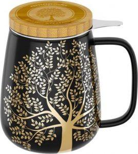 Tee-Tasse schwarz-gold mit Baum