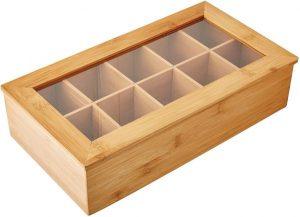 Teebox aus Bambus mit Sichtfenster,