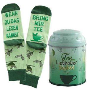 Teedose mit Socken - Aufdruck: Wenn du das lesen kannst bring mir Tee