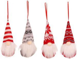 4er Set Weihnachtswichtel zum Hängen