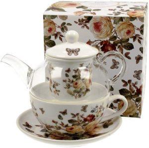 "Tea for One Set - ""Zahra"" mit Rosenmotiv"